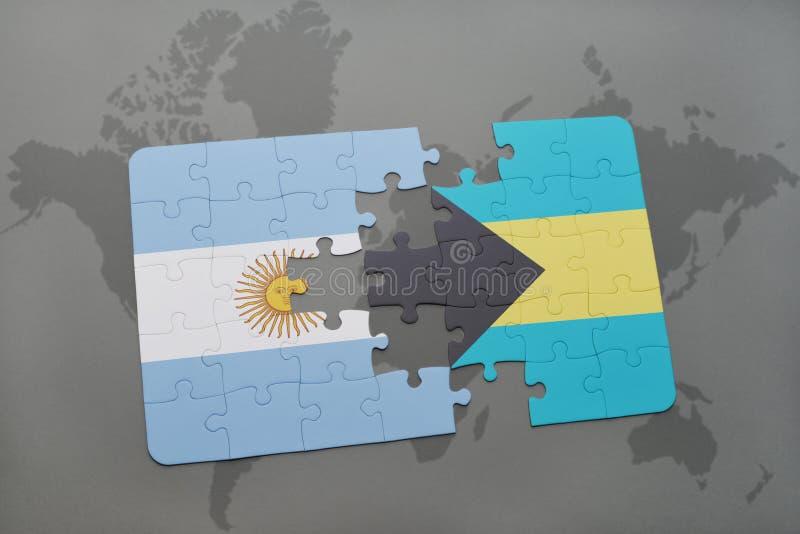 déconcertez avec le drapeau national de l'Argentine et des Bahamas sur un fond de carte du monde illustration de vecteur
