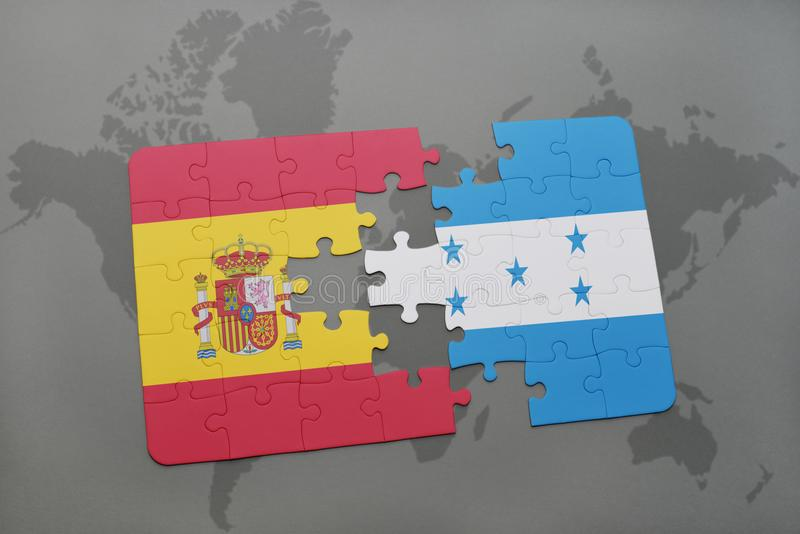 déconcertez avec le drapeau national de l'Espagne et du Honduras sur un fond de carte du monde illustration stock