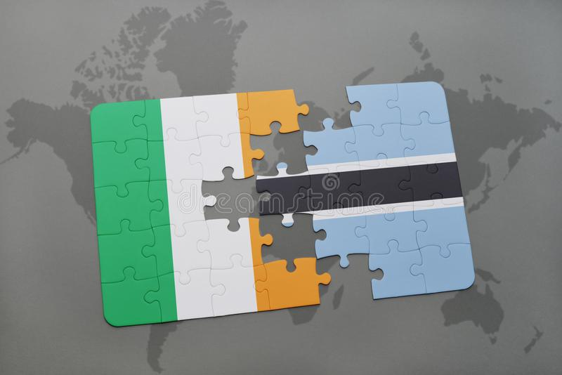 déconcertez avec le drapeau national de l'Irlande et du Botswana sur une carte du monde illustration de vecteur