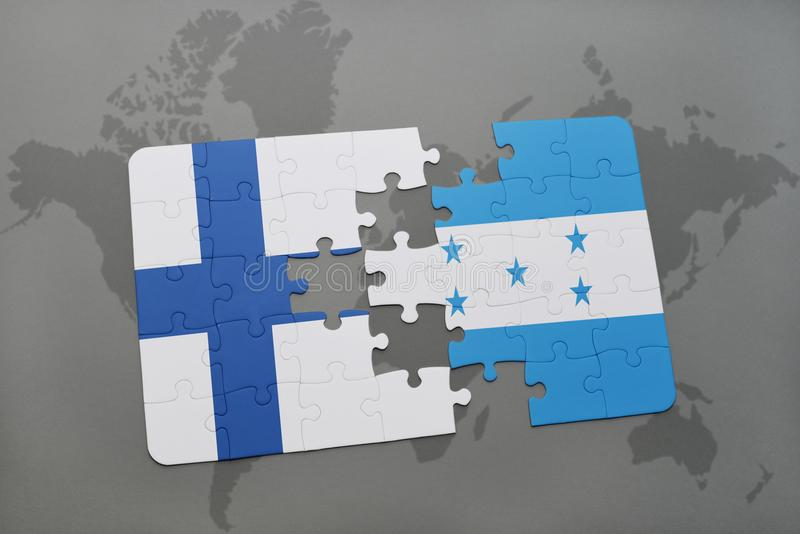 déconcertez avec le drapeau national de la Finlande et du Honduras sur un fond de carte du monde illustration stock