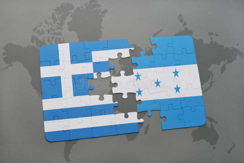 déconcertez avec le drapeau national de la Grèce et du Honduras sur un fond de carte du monde illustration de vecteur