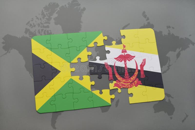 déconcertez avec le drapeau national de la Jamaïque et du Brunei sur une carte du monde illustration de vecteur