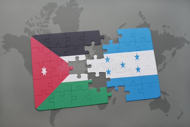 déconcertez avec le drapeau national de la Jordanie et du Honduras sur un fond de carte du monde illustration libre de droits
