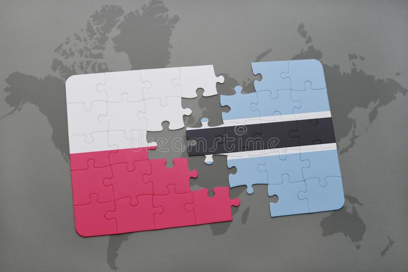 Déconcertez avec le drapeau national de la Pologne et du Botswana sur un fond de carte du monde illustration 3D illustration stock