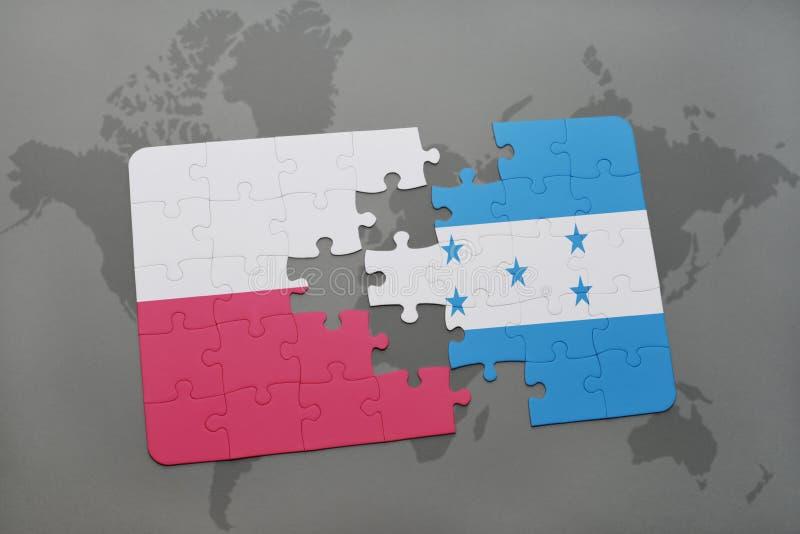 Déconcertez avec le drapeau national de la Pologne et du Honduras sur un fond de carte du monde illustration 3D illustration de vecteur