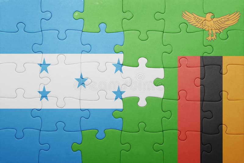 déconcertez avec le drapeau national de la Zambie et du Honduras illustration libre de droits