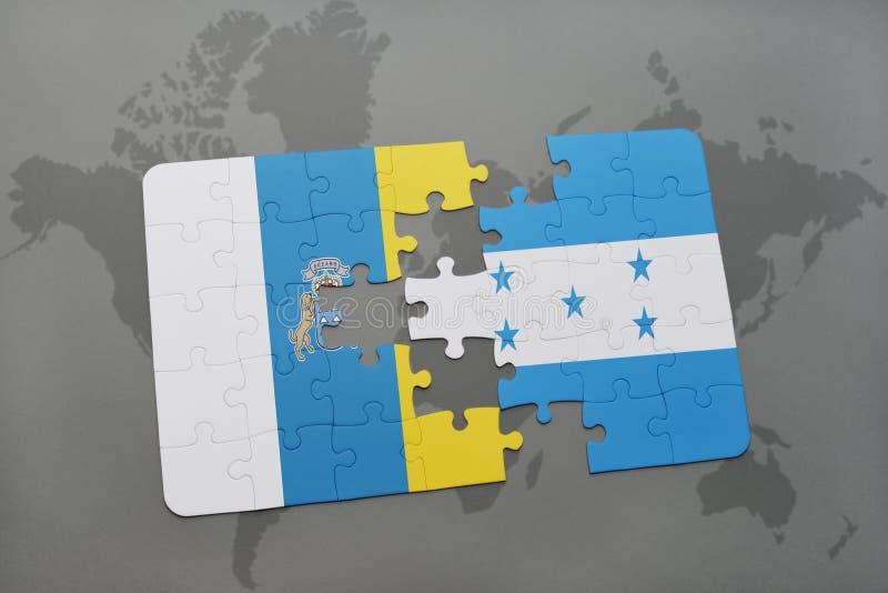 déconcertez avec le drapeau national des Îles Canaries et du Honduras sur un fond de carte du monde illustration stock