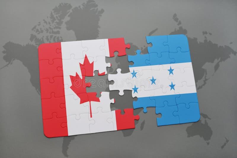 déconcertez avec le drapeau national du Canada et du Honduras sur un fond de carte du monde illustration de vecteur