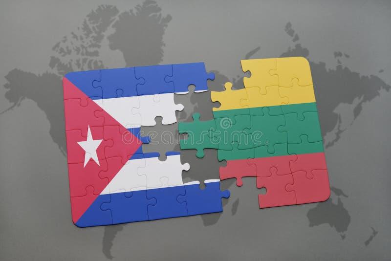 déconcertez avec le drapeau national du Cuba et de la Lithuanie sur un fond de carte du monde illustration de vecteur
