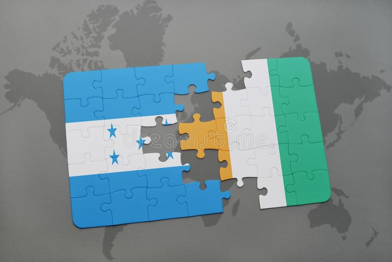 déconcertez avec le drapeau national du divoire du Honduras et de la petite ferme sur une carte du monde illustration de vecteur