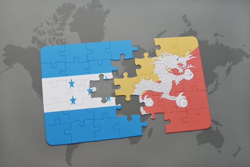 déconcertez avec le drapeau national du Honduras et du Bhutan sur une carte du monde illustration de vecteur