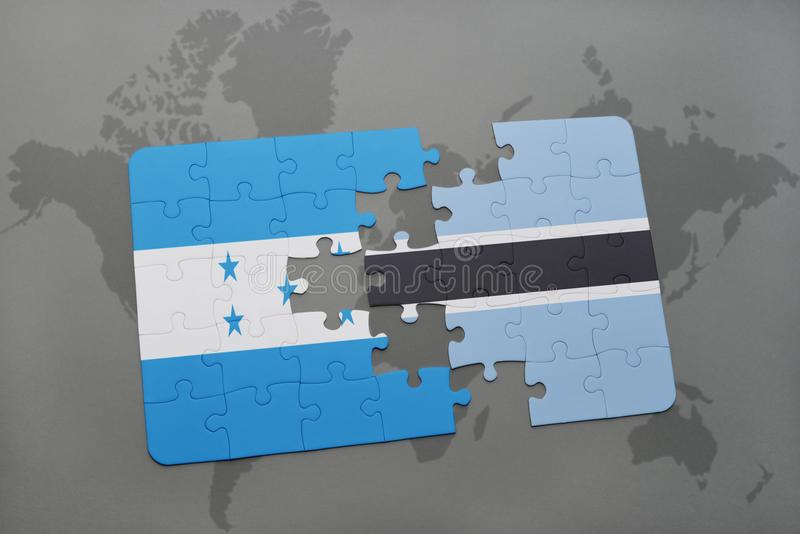 déconcertez avec le drapeau national du Honduras et du Botswana sur une carte du monde illustration de vecteur