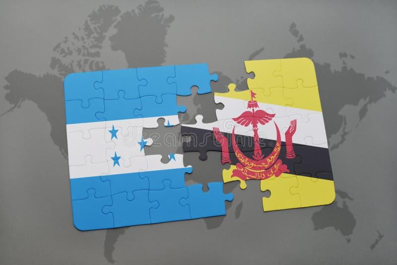 déconcertez avec le drapeau national du Honduras et du Brunei sur une carte du monde illustration de vecteur