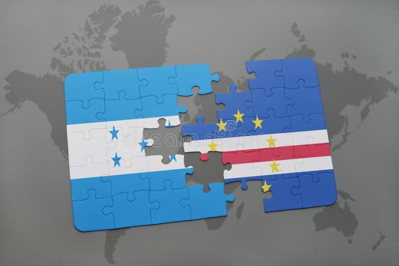 déconcertez avec le drapeau national du Honduras et du Cap Vert sur une carte du monde illustration de vecteur