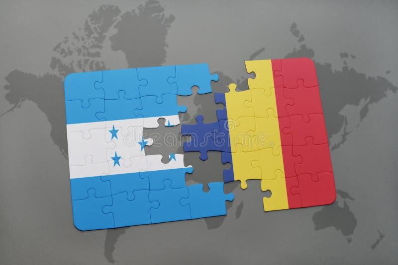 déconcertez avec le drapeau national du Honduras et du confetti sur une carte du monde illustration libre de droits