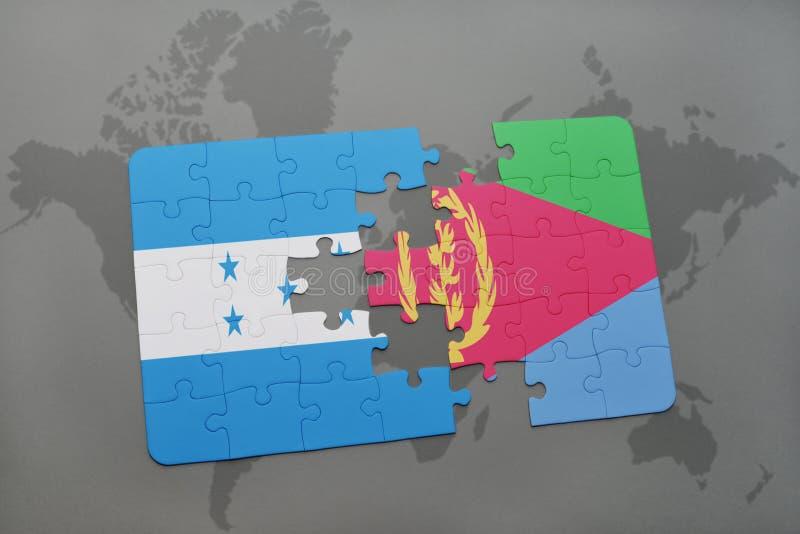 déconcertez avec le drapeau national du Honduras et de l'Érythrée sur une carte du monde illustration stock