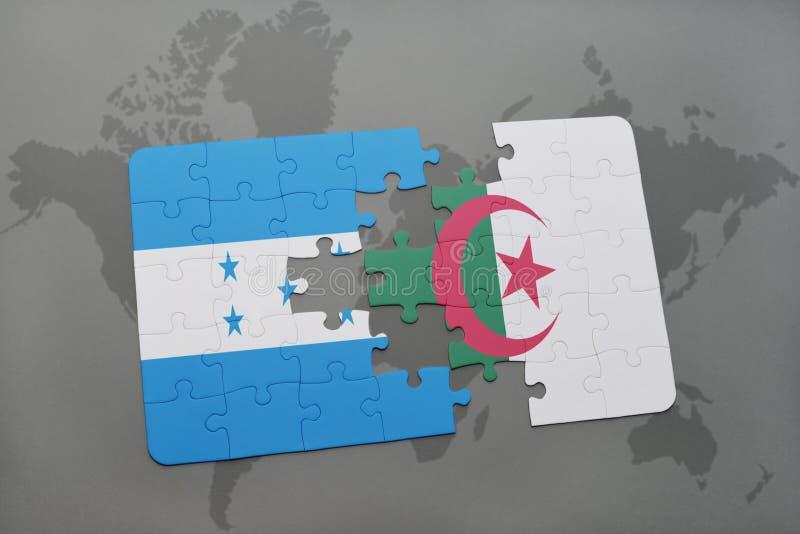 déconcertez avec le drapeau national du Honduras et de l'Algérie sur une carte du monde illustration stock