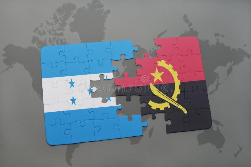 déconcertez avec le drapeau national du Honduras et de l'Angola sur une carte du monde illustration libre de droits