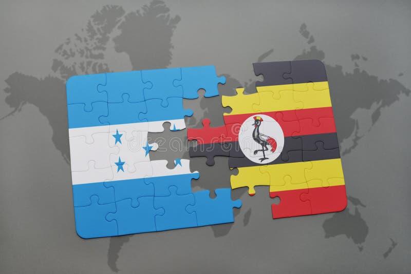 déconcertez avec le drapeau national du Honduras et de l'Ouganda sur une carte du monde illustration de vecteur