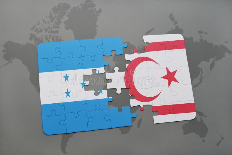 déconcertez avec le drapeau national du Honduras et de la Chypre du nord sur une carte du monde illustration de vecteur