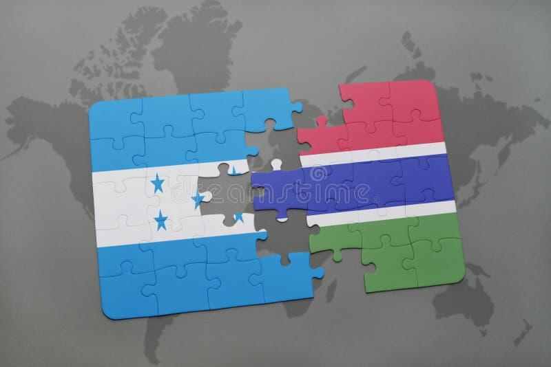 déconcertez avec le drapeau national du Honduras et de la Gambie sur une carte du monde illustration stock