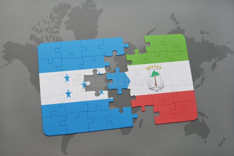 déconcertez avec le drapeau national du Honduras et de la Guinée équatoriale sur une carte du monde illustration libre de droits