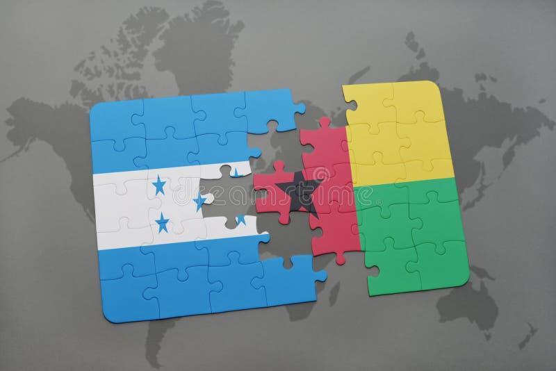 déconcertez avec le drapeau national du Honduras et de la Guinée-Bissau sur une carte du monde illustration de vecteur