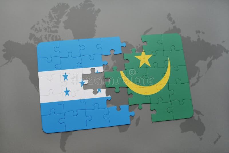 déconcertez avec le drapeau national du Honduras et de la Mauritanie sur une carte du monde illustration stock