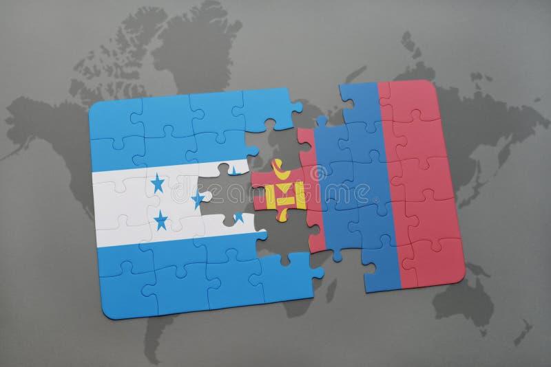 déconcertez avec le drapeau national du Honduras et de la Mongolie sur une carte du monde illustration libre de droits