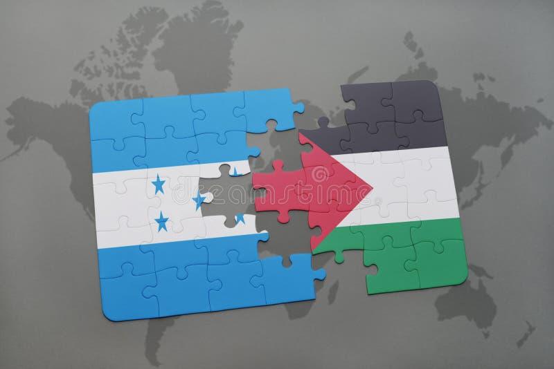déconcertez avec le drapeau national du Honduras et de la Palestine sur une carte du monde illustration stock