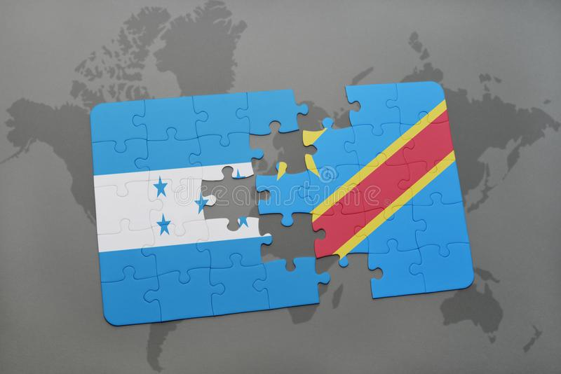 déconcertez avec le drapeau national du Honduras et de la République démocratique du Congo sur une carte du monde illustration de vecteur