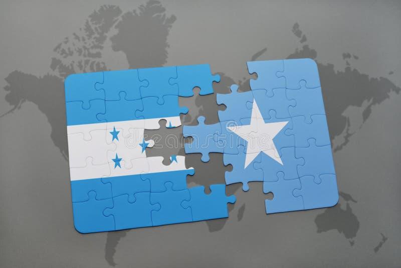déconcertez avec le drapeau national du Honduras et de la Somalie sur une carte du monde illustration libre de droits