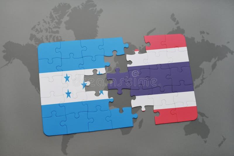déconcertez avec le drapeau national du Honduras et de la Thaïlande sur une carte du monde illustration stock