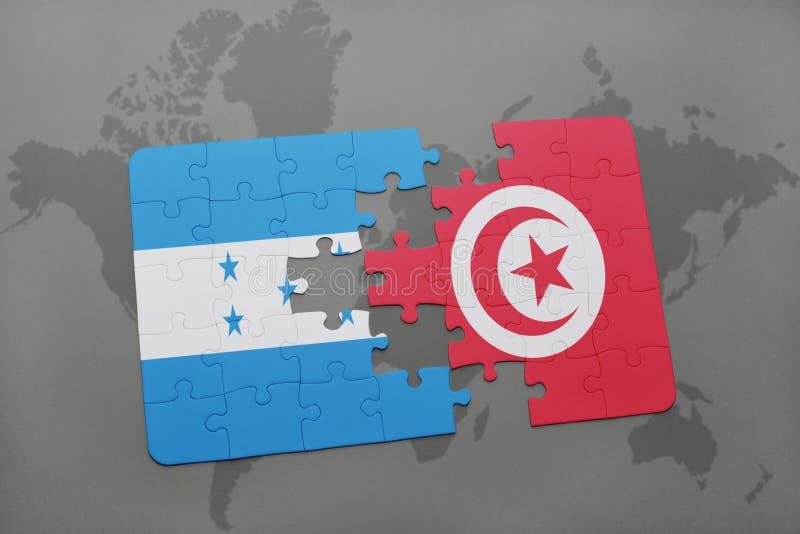 déconcertez avec le drapeau national du Honduras et de la Tunisie sur une carte du monde illustration stock