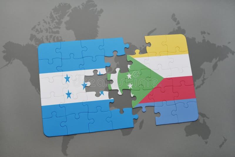 déconcertez avec le drapeau national du Honduras et des Comores sur une carte du monde illustration stock
