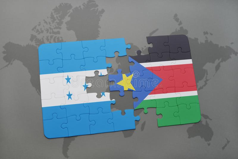 déconcertez avec le drapeau national du Honduras et des sud Soudan sur une carte du monde illustration de vecteur