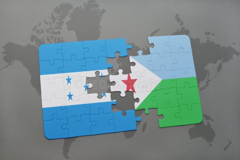 déconcertez avec le drapeau national du Honduras et du Djibouti sur une carte du monde illustration de vecteur