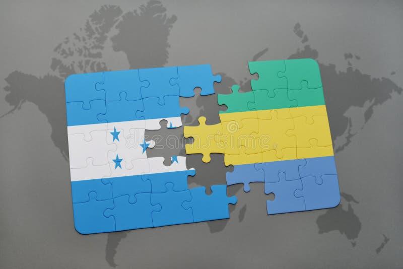 déconcertez avec le drapeau national du Honduras et du Gabon sur une carte du monde illustration de vecteur