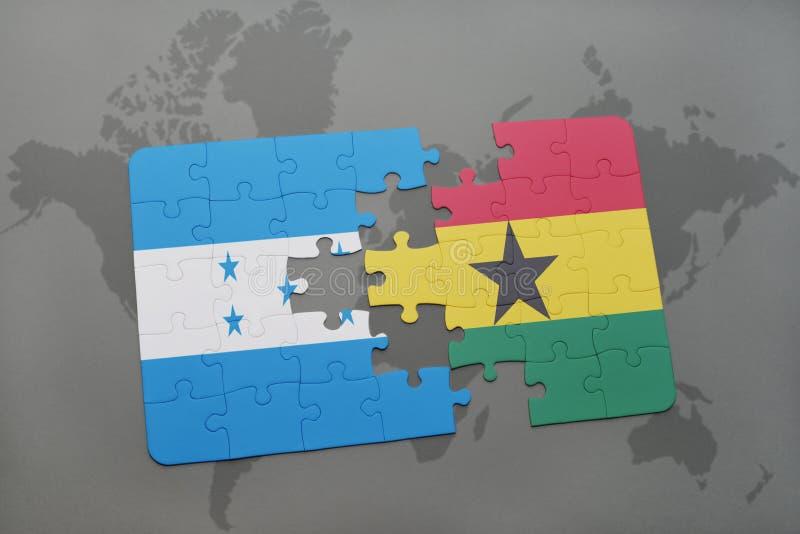 déconcertez avec le drapeau national du Honduras et du Ghana sur une carte du monde illustration stock