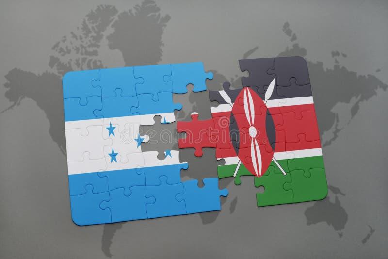 déconcertez avec le drapeau national du Honduras et du Kenya sur une carte du monde illustration de vecteur