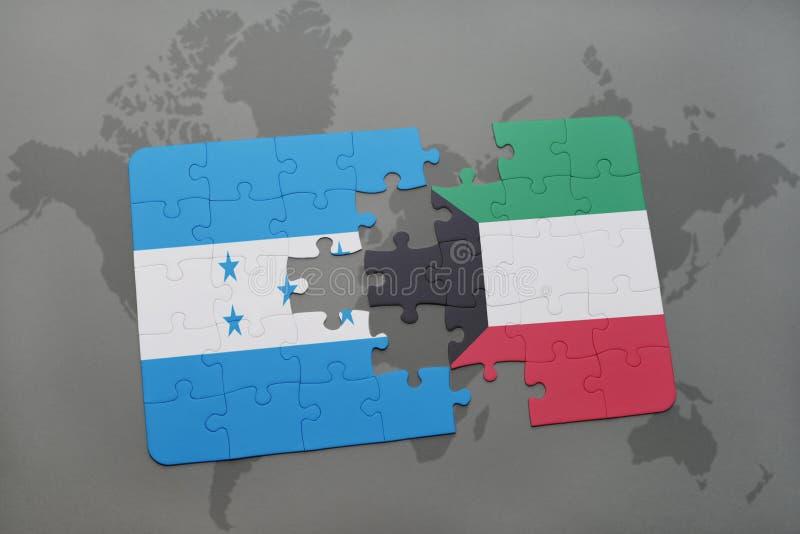 déconcertez avec le drapeau national du Honduras et du Kowéit sur une carte du monde illustration stock