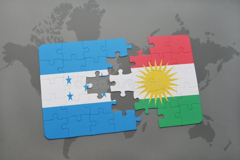 déconcertez avec le drapeau national du Honduras et du Kurdistan sur une carte du monde illustration de vecteur