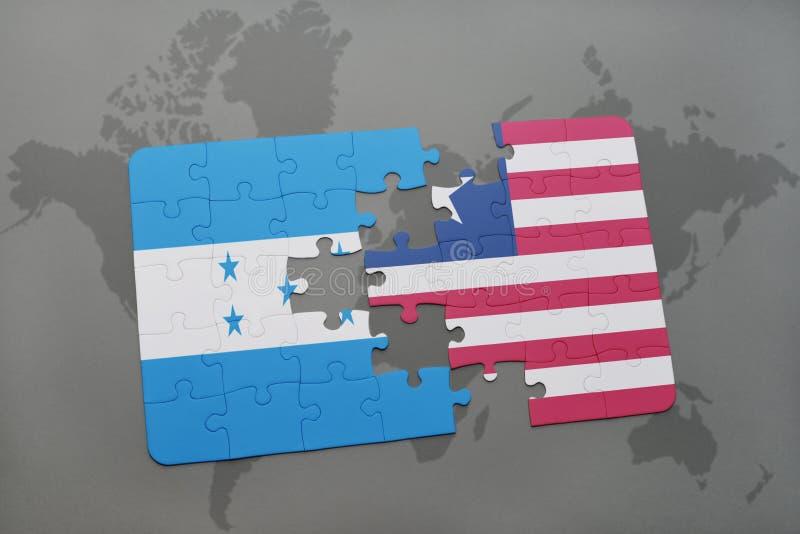 déconcertez avec le drapeau national du Honduras et du Libéria sur une carte du monde illustration libre de droits