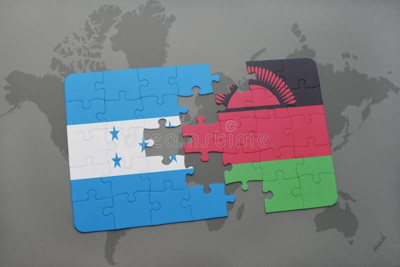 déconcertez avec le drapeau national du Honduras et du Malawi sur une carte du monde illustration libre de droits