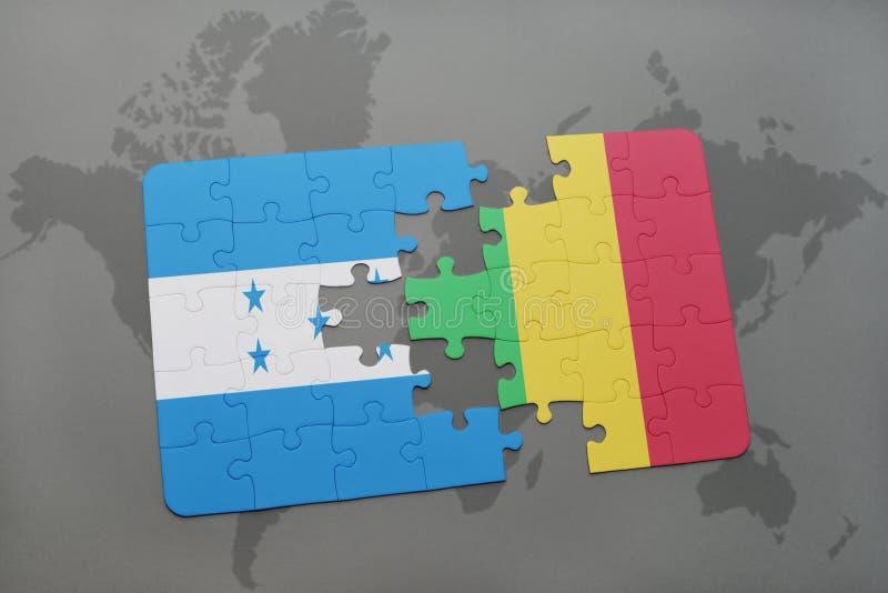 déconcertez avec le drapeau national du Honduras et du Mali sur une carte du monde illustration de vecteur