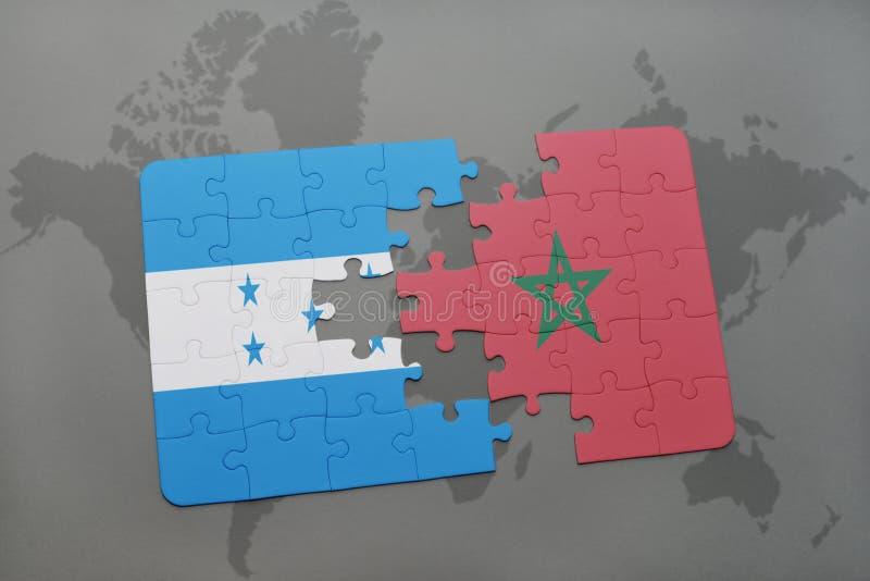 déconcertez avec le drapeau national du Honduras et du Maroc sur une carte du monde illustration de vecteur