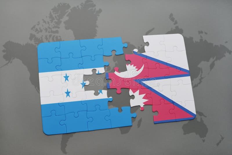 déconcertez avec le drapeau national du Honduras et du Népal sur une carte du monde illustration stock