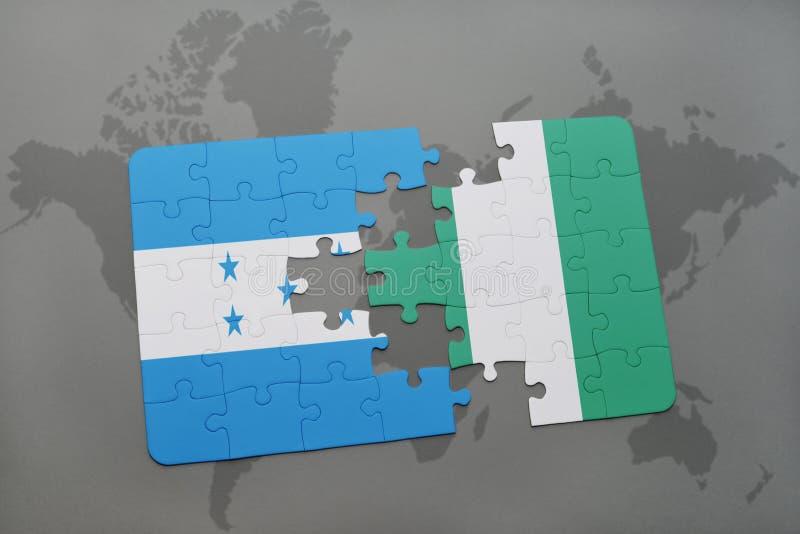 déconcertez avec le drapeau national du Honduras et du Nigéria sur une carte du monde illustration de vecteur