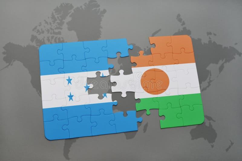 déconcertez avec le drapeau national du Honduras et du Niger sur une carte du monde illustration de vecteur