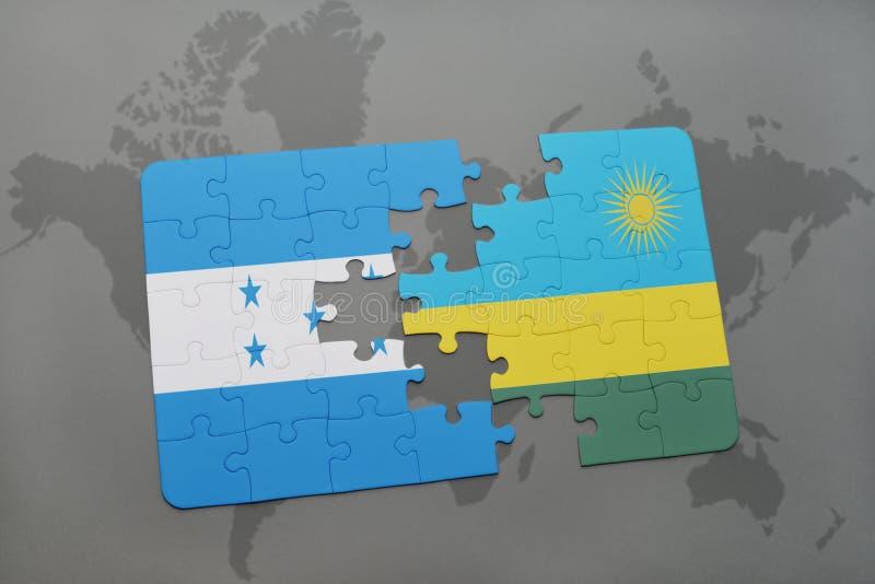déconcertez avec le drapeau national du Honduras et du Rwanda sur une carte du monde illustration de vecteur